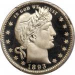 1893 Barber Quarter. Proof-68 Deep Cameo (PCGS).