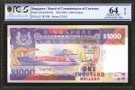 1984年新加坡货币发行局一仟圆。PCGS GSG Choice Uncirculated 64 OPQ.