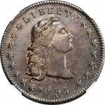 1795 Flowing Hair Silver Dollar. BB-27, B-5. Rarity-1. Three Leaves. AU-55 (NGC).