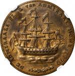 1778-1779 (ca. 1780) Rhode Island Ship Medal. Betts-563, W-1740. Wreath Below Ship. Brass. MS-63 (NG