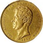 ITALY. Sardinia. 100 Lire, 1836-P. Genoa Mint; mm: anchor. Carlo Alberto. NGC AU-58.