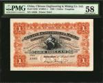 1902年开平矿务有限公司一圆。 CHINA--FOREIGN BANKS. Chinese Engineering & Mining Company Limited. 1 Dollar, 1902.