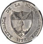COLOMBIA. 1837-RS 8 Reales. Bogotá mint. Restrepo 193.1var. White metal restrike. MS-63 (NGC).