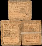 Lot of (3) PA-123, 124 & 125. Colonial Notes. 1764. 5, 10 & 20 Shillings. Very Good to Very Fine.