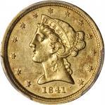 1841-C Liberty Half Eagle. AU-53 (PCGS).