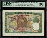 1941年印度新金山中国渣打银行100元,编号Y/M 177590,PMG 30,颜色鲜活