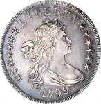 1799/8 Draped Bust Silver Dollar. BB-141, B-3. Rarity-3. 15-Star Reverse. AU Details--Cleaning (PCGS