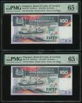 Singapore, a pair of $50, ND (1997),  Shipsseries, consecutive serial numbers F/9 747293-294, (Pick
