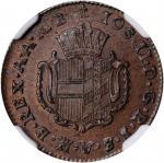 GERMANY. Further Austria. 1/2 Kreuzer, 1789-H. Gunzburg Mint. Josef II. NGC MS-63 Brown.
