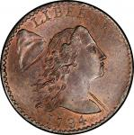 1794 Liberty Cap Cent. S-26. Sheldon-26. Head of 1794. Rarity-2. Mint State-66 RB (PCGS).