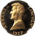 1927 Lincoln Token by Thomas L. Elder. Cunningham 10-370X, King-1043, DeLorey-48. Gold. 18 karats. 1