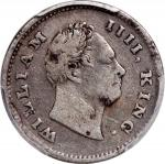 India, British, a pair of silver 1/4 rupee, 1835(B) and 1840(C or B), William IIII and Victoria on o