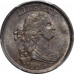 1804 Draped Bust Half Cent. C-8. Rarity-1. Spiked Chin. MS-64 BN (PCGS).