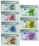 2002年欧洲中央银行伍,拾,贰拾,伍拾,一佰,贰佰,伍佰欧元样票一组七枚,均PMG64-66EPQ,少见!(7)