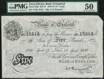 Bank of England, K.O. Peppiatt, £5, Leeds 22 April 1936, prefix T219, black and white, ornate crowne