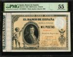 1895年西班牙1000比塞塔 PMG AU 55 SPAIN Banco de Espana 1000 Pesetas