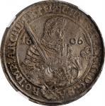 GERMANY. Saxony. Taler, 1606-HR. Dresden Mint. Christian II, Johann Georg I & August. NGC MS-62.