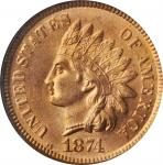 1874 Indian Cent. MS-65 RD (NGC). CAC. OH.