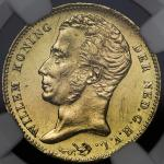 "NETHERLANDS Kingdom 连合王国 10Gulden 1840 NGC-UNC Details""Cleaned"" 洗浄 AUFr-327 KM-56 ウィレム1世 ユトレヒト NGC-U"