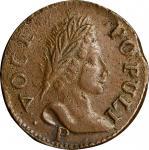 1760 Voce Populi Halfpenny. Nelson-14, Zelinka 16-O. P Below Bust. AU-55 (PCGS).