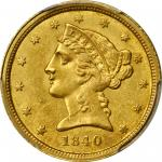 1840-C Liberty Head Half Eagle. MS-64 (PCGS).