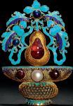 金质累丝点翠嵌珍珠、碧玺、红蓝宝石花篮形面簪