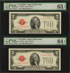Lot of (2) Fr. 1508. 1928G $2  Legal Tender Notes. PMG Choice Uncirculated 63 EPQ & 64 EPQ. Consecut