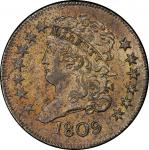 1809 Classic Head Half Cent. Cohen-2, Breen-3. Rarity-3. Mint State-62 RB (PCGS).