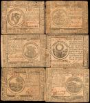 Lot of (6) CC-31, 41, 43, 50, 53 & 70. Continental Currency. 1776-77. $1 to $30. Fine to Very Fine.