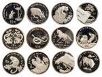 1988-1999年十二生肖一盎司加厚纪念银币全套十二枚