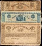 COLOMBIA. Lot of (3) Banco de Santander. 1 to 10 Pesos, 1900. P-S831c, S82b & S833b. PMG Fine 12 to