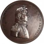 1814 Captain Lewis Warrington Medal. Bronzed Copper. 65 mm. By Moritz Furst. Julian NA-23. Mint Stat