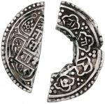 Nepal, 2x cut pieces of 1/3 mohar, weighs 1.93g and 2.28g respectively, and 3x cut pieces of 1/5 Moh