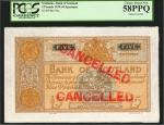SCOTLAND. Bank of Scotland. 5 Pounds, 1935-44. P-92a. Specimen. PCGS Currency Choice About New 58 PP
