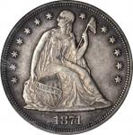 1871 Liberty Seated Silver Dollar. OC-5. Rarity-2. EF-45 (PCGS).