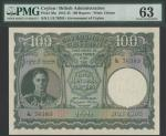 Government of Ceylon, 100 Rupees, 24 June 1945, serial number L/15 76383, green on brown and red und