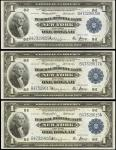 Lot of (3) Fr. 712. 1918 $1 Federal Reserve Bank Notes. New York. About Uncirculated-Choice Uncircul