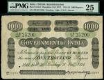 x Government of India, 1000 rupees, Bombay, 20 February 1914, serial number ZB/95 23200, black and w