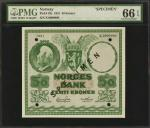 NORWAY. Norges Bank. 50 Kroner, 1951. P-32s. Specimen. PMG Gem Uncirculated 66 EPQ.