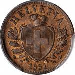 SWITZERLAND. 2 Rappen, 1851-A. Paris Mint. PCGS MS-64 Brown Gold Shield.