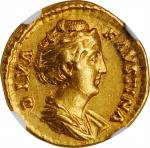 DIVA FAUSTINA SENIOR (WIFE OF ANTONINUS PIUS, DIED A.D. 140/1). AV Aureus (6.77 gms), Rome Mint, Str