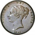 Victoria (1837-1901), Penny, 1843, young head left, rev. Britannia seated right, colon after reg (Pe