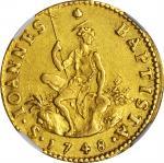 ITALY. Tuscany. Ruspone (3 Zecchini), 1748. Francis I (1748-65). NGC AU-58.