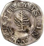 1652 Pine Tree Shilling. Large Planchet. Noe-1, Salmon 1-A, W-690. Rarity-2. Pellets at Trunk--Flip