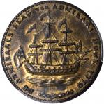 1778-1779 (Circa 1780) Rhode Island Ship Medal. Betts-563, W-1740. Wreath Below Ship. Brass. MS-62 (