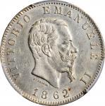 ITALY. Lira, 1862-N. Naples Mint. Vittorio Emanuele II. PCGS AU-58 Gold Shield.
