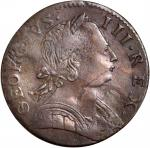 1775 Contemporary Counterfeit Halfpenny. George III English Type—Double Struck, Uniface Obverse. EF-