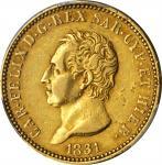 ITALY. Sardinia. 40 Lire, 1831-P. Torino Mint. Carlo Felice. PCGS AU-53 Gold Shield.