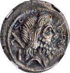 ROMAN REPUBLIC. M. Nonius Sufenas. AR Denarius (3.89 gms), Rome Mint, 57 B.C.NGC Ch AU★, Strike: 4/