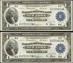 Lot of (2) Fr. 712. 1914 $1 Federal Reserve Bank Notes. New York. Choice Uncirculated.